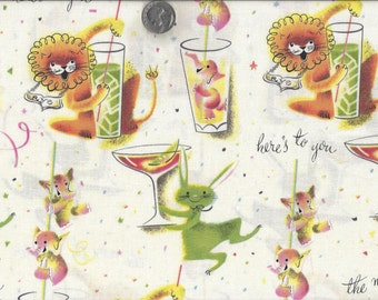 Retro Party Animals I Spy Fabric Mid Century Modern Pink Elephant Lion Rabbit Drinking By the Fat Quarter  BTFQ