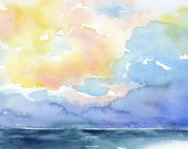 Watercolor Painting Abstract Ocean - Colorful Sea - Beach - 5 x 7 - Landscape Seascape