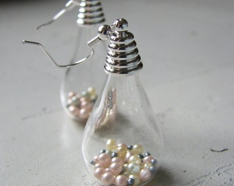 Pearl earrings dangle | teardrop | gold | silver | blown glass
