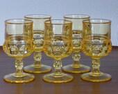 Set of 5 Indiana Glass Citrine Goblets