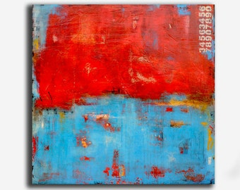 Giant PAINTING 60X60 canvas original painting WALL ART Abstract red and blue