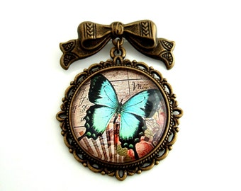 Butterfly Brooch Cameo Brooch Lepidoptera Brooch Altered Art Brooch Gift for Her Vintage Style Brooch Neo-Victorian Jewelry Insect Jewelry