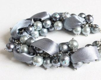 Dark Gray Cluster Bracelet and Earrings Set