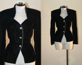 Black Velvet Vintage Peplum Jacket Rhinestone Buttons & Detailing