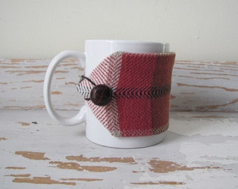 Tartan Red Plaid Coffee Mug Cozy Gourmet Foodie Gift, Coffee Tea Lover Gift, Office Gift Hot Cold Woven Cotton Cocoa Large Cup Sleeve Wrap
