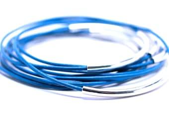 Blue Bangles . Leather Bangles , Bangle Bracelets  Bracelet Set ,  Scuba Blue , Stacking Bangles ,  Best Seller , Amy Fine Design