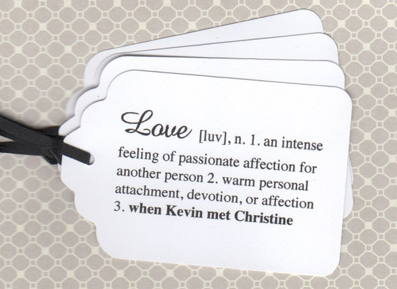 100 Elegant Personalized Wedding Tags, Love Definition Favor Escort Card Place Card Tags, Wedding Wish Favor Tags