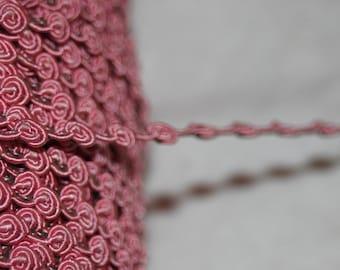 "3 yards Rosebud Non Stretch Gimp Doll Craft Trim Iridescent Rose Pink 1/4"" wide"