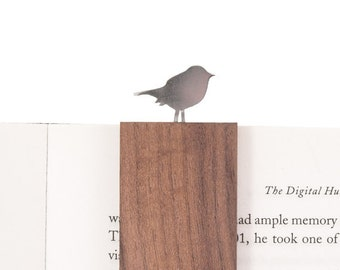 Gift Book Bookmark Aluminium Wood ,Robin