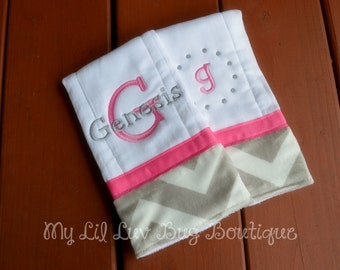 Personalized Burp cloth set prefold diaper- hot pink with grey and white chevron print- set of two