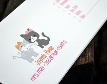 Personalized School Money Envelope for Money and Notes - Kitty Cat Design - Personalized School Envelopes - Girls Kitty Cat Envelopes