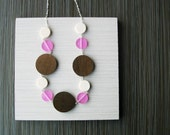 Wood Necklace - Resin Jewelry, Anniversary Gift, Pink, White, Brown, Statement, Chunky, Adjustable