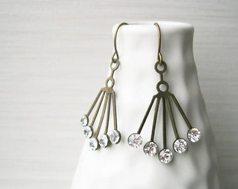 Rhinestone Chandelier Earrings - Bridal Jewelry, Art Deco, Wedding, Clear, Vintage Swarovski, Antiqued Brass, Gold Toned
