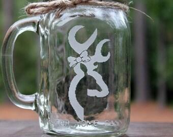 1 Mason Jar Mug Browning Doe, Engraved Mason Jar Mug, Custom Mason Jar Mug