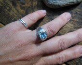 Shimmering Genuine Blue Topaz  Sterling SilverSolitare Ring size 7.75-8 Hand Forged