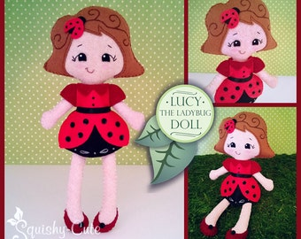 Doll Sewing Pattern PDF - Felt Rag Doll Pattern - Lucy the Ladybug Doll
