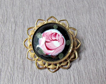 Guilloche Enamel Pin Black with Pink Rose
