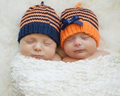 Hand knit  baby hats Denver Broncos Colorado Chicago Bears sport team cotton   boys  girls Newborn-3 months   ready to ship  photo prop