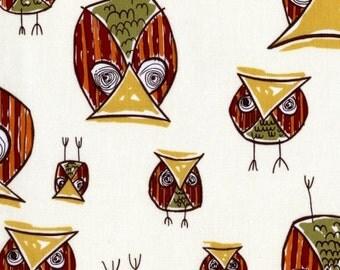 Honeycrisp Owls by Dear Stella - Cute Whimsical Owls on Cream Quilt Fabric