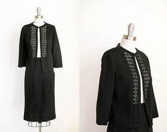 Black Knit Set | 1950s | 60s | OK Cutout Dress