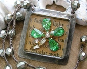 Shamrock crochet necklace - Lucky Clover - St Patricks Day Irish green, rhinestone crocheted jewelry boho Vintage Market by 3DivasStudio