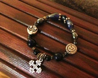 Black Bead Bracelet with Cross Charm