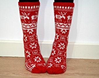 Hand Knit Wool Socks Red White Christmas Reindeer Elk Scandinavian Slippers Nordic