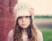 Crochet Newsboy Hat for Newborns, Baby Girl Hat for Infants, Newborn Baby Hat, Ivory, Pink, Cotton, Newborn Size