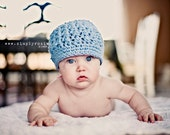 Baby Crochet Hat, Light Blue Baby Hat, Hats for Babies, Baby Boy Hats, Cotton, 0 to 12 Months