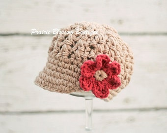 Jute Baby Girls Hats, Crochet Newsboy Hat for Girls, Beanie Hats for Babies, Crochet Baby GIrl Hat, 0 to 12 Months