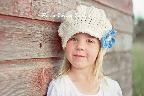 Crochet Slouch Hat, Girl's Slouchy Beanie with Visor, Girl's Crochet Hats, Off White, Light Blue, Cotton, 12 Months to 4T