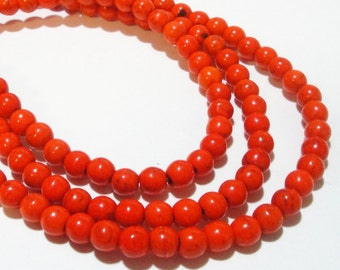 """Orange Round Beads - Howlite Round Ball Beads - Smooth Turquoise Drilled Gemstone - 8mm /16"""" Strand - DIY Jewelry Making - Bulk Price"""