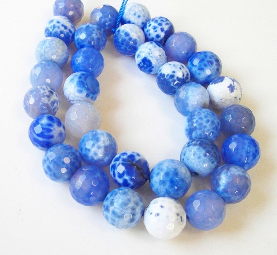 """Blue White Round Faceted Agate Beads 12mm,  7.5"""" Inch,  For Jewelry Making"""