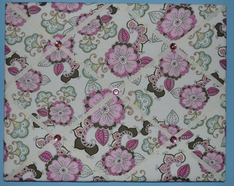 Pink, brown, cream, & blue flower french memo board, 16 x 20