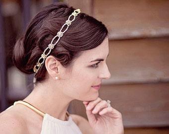 Bridal Greek Goddess, rhinestone headpiece, golden wedding headband, simple sparkly rhinestone halo, bridal diamante hairband