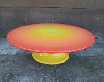 Sunset Ombre Ceramic Cake Plate Stand - Colorful Gradient Design - Shades of Red, Orange and Yellow