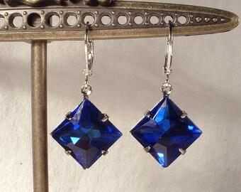 Vintage Art Deco Sapphire Dark Cobalt Blue Rhinestone Square Silver Dangle Drop Earrings 1920s Flapper Bridal Bridesmaids Gifts 1920s