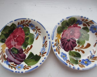 Two Ceramic Colorful Small Flower Dishes