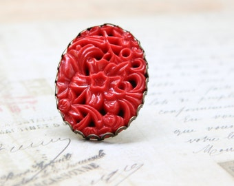 Etched Floral Red Cabochon Adjustable Ring