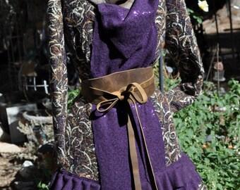 showdiva designs Made to Order Reversable Multi Texture Wool Yarn Coat Asymmetrical Ruffles n Sequins n Plaid n Metallic Hints DrAmA