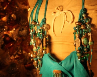 Breathtaking Turquoise Purse Dripping with Fringe to the Floor and Beads