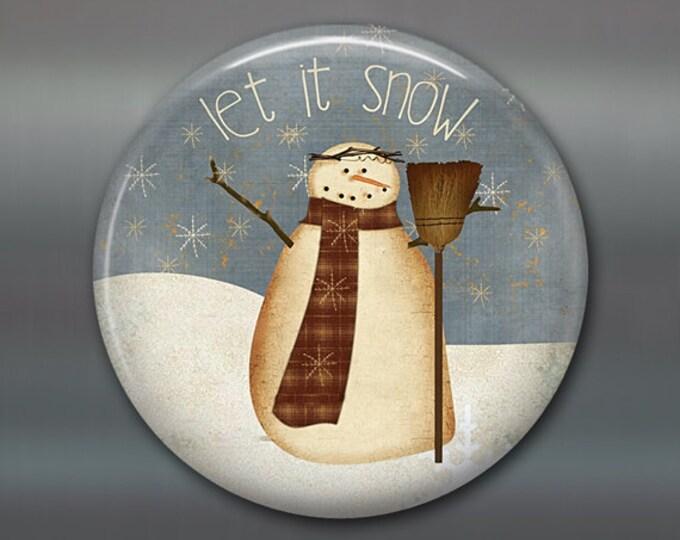 housewarming gift folk art snowman magnet, primitive fridge magnet, kitchen decor, holiday decoration, holiday magnet  MA-1382
