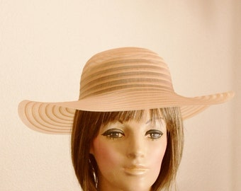 Floppy Hat Wide Brim Sheer Sun Hat Beach Bridesmaid Crinoline Horsehair Braid Orange Retro Vintage 60's 70's