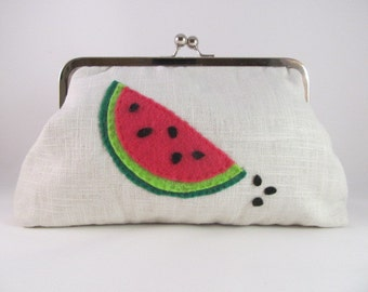 Watermelon Clutch Purse-Clutch-Purse-Handbag-Kisslock-8 inch