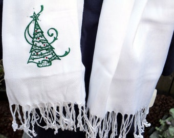 Scarf (Pashmina) - Embroidered Christmas with Crystals