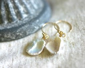 Keshi Pearl and Cubic Zirconia 14K Gold Filled Earrings