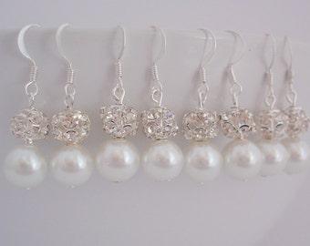 10 Pairs Bridesmaid Pearl and Rhinestone Earrings, 10 Pairs Bridesmaid Pearl Earrings
