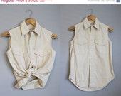 20% Off SALE Sleeveless Shirt Blouse Vintage Khaki Tan Top Safari Medium