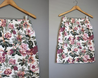 Floral Skirt Vintage Knit Mini 1990s White Large