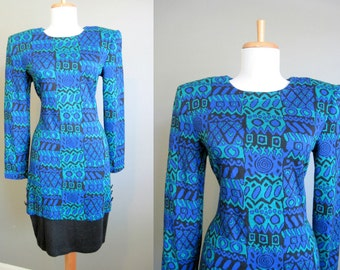 Sweater Dress Vintage Aztec Blue Green 1980s Medium